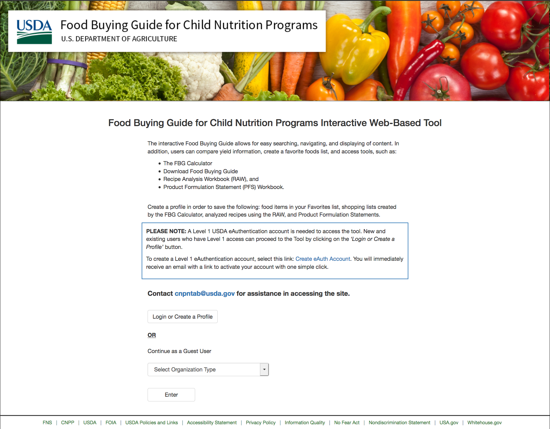 Food Buying Guide Home Page