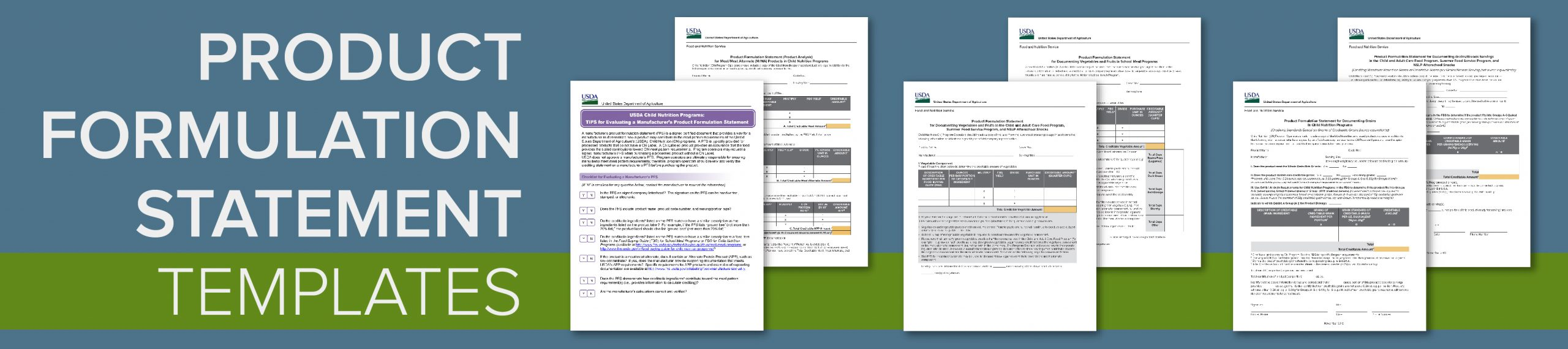 USDA Product Formulation Statement Templates