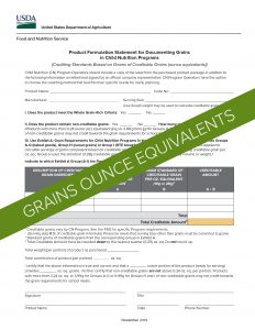USDA Product Formulation Statement Template for Grain Ounce Equivalents