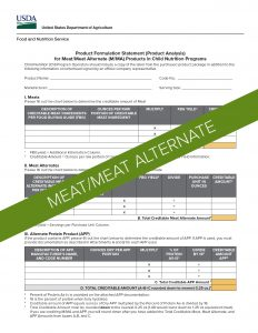 USDA Product Formulation Statement Template for Meat/Meat Alternates