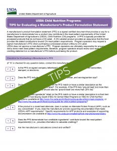 USDA Tips for Product Formulation Statement Templates