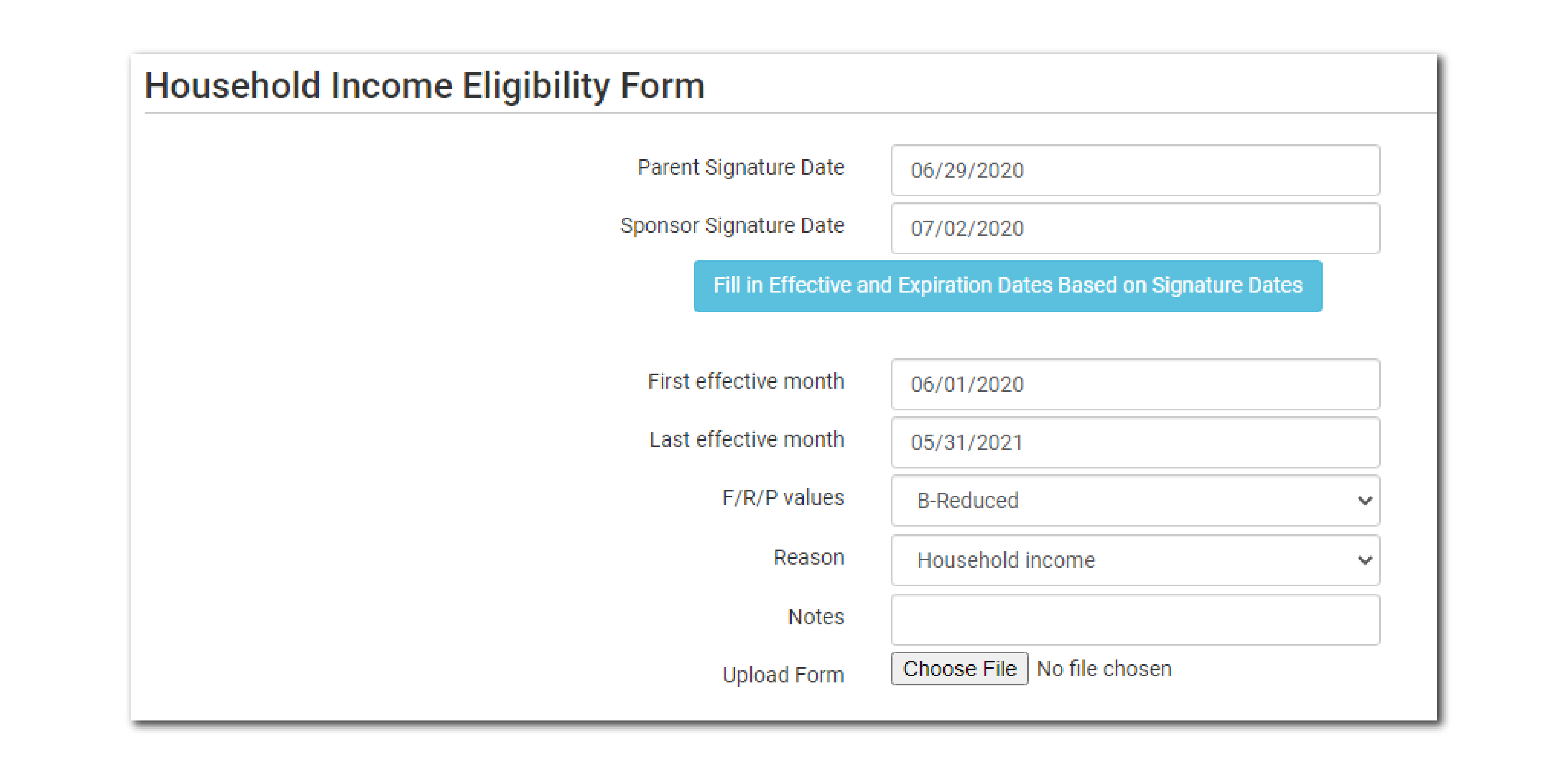 Income Form Policies