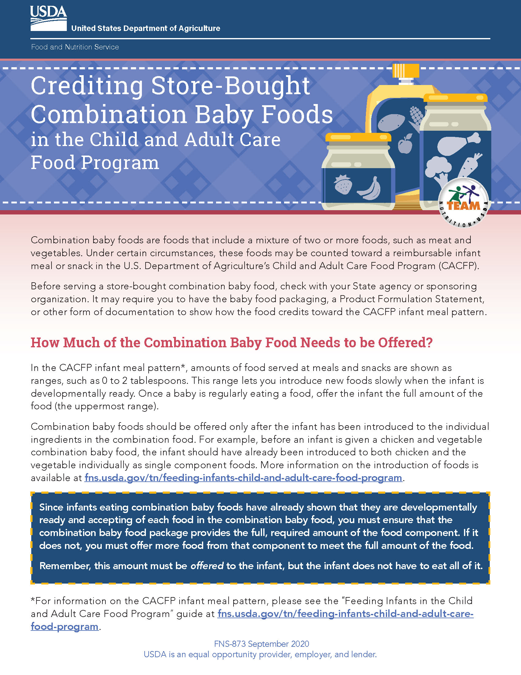 Crediting Store-Bought Combination Baby Foods